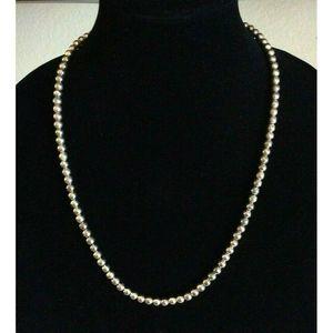 Napier Silver Tone Metal Bead Necklace 24 Inch